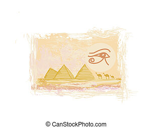 Egypt symbols and Pyramids - Traditional Horus Eye symbol and camel silhouette in front