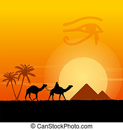 Egypt symbols and Pyramids - Traditional Horus Eye symbol...
