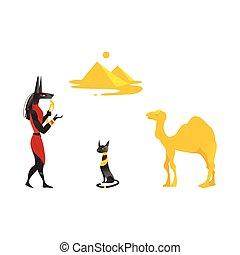 Egypt symbols - Anubis, black cat, camel, pyramids - Set of...