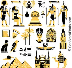 Egypt Symbols Decorative Icons Set - Egypt symbols set in...