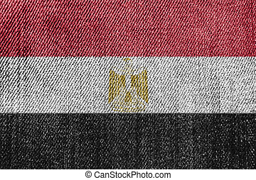 Egypt Textile Industry Or Politics Concept: Egyptian Flag Denim Jeans