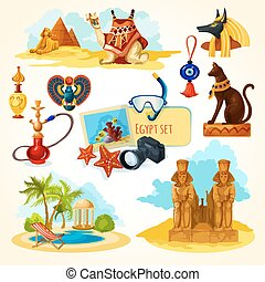 Egypt touristic set with cartoon travel attractions isolated vector illustration