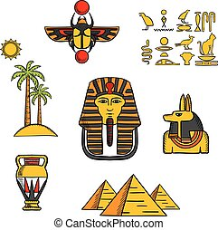 Egypt travel and culture icons with Giza pyramids, golden mask of pharaoh and ancient hieroglyphics, scarab amulet and Anubis god, amphora and landscape of palm trees with sun