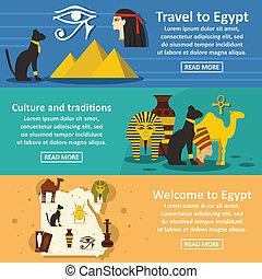 Egypt travel banner horizontal set, flat style