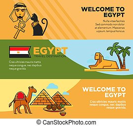 Egypt travel destination promotional tour agency banners...