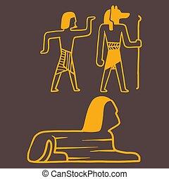 Egypt travel history sybols hand drawn design traditional...