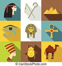 Egypt travel icon set, flat style