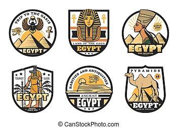 Egypt travel icons of ancient pharaoh pyramids