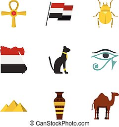 Egypt travel icons set, cartoon style - Egypt travel icons...