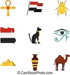 Egypt travel icons set, cartoon style - Egypt travel icons...