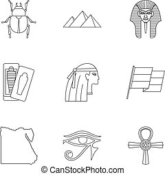 Egypt travel icons set, outline style - Egypt travel icons...