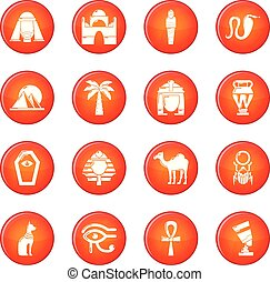 Egypt travel icons set red vector