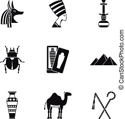 Egypt travel icons set, simple style - Egypt travel icons...