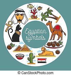 Egypt travel landmark symbols vector poster