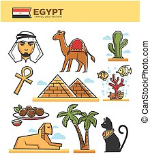Egypt travel tourism landmarks and culture tourist attractions or symbols vector icons