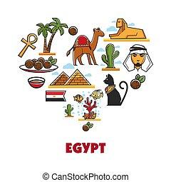 Egypt travel tourism vector landmarks symbols
