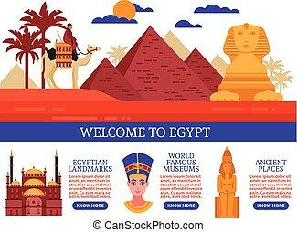 Egypt Travel Vector Illustration - Egypt travel flat vector...