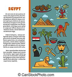 Egypt traveling and tourism architecture cuisine and animals poster