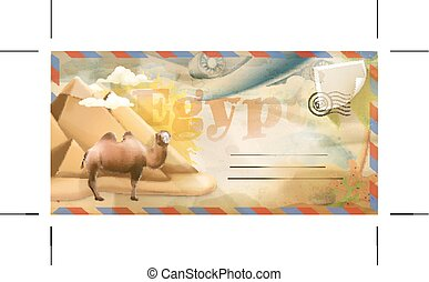 Egypt vector postcard