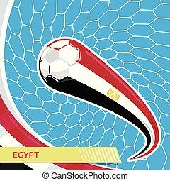 Egypt waving flag and soccer ball in goal net