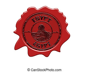 Red wax seal with sphinx, pyramids shapes and the name of Egypt written inside
