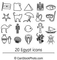 egypt, země, námět, symbol, nárys, ikona, dát, eps10