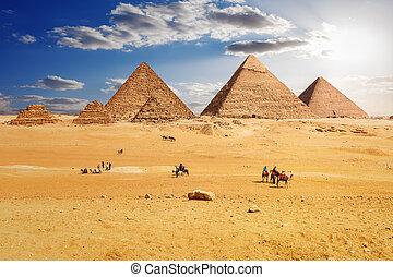 egypte, bedouins, giza piramides