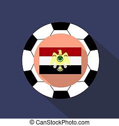 egypte, drapeau national, fond, football, ball.