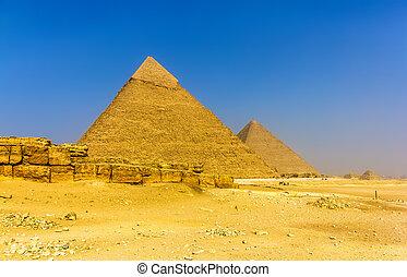 egypte, -, giza, khufu, pyramides, khafre, vue