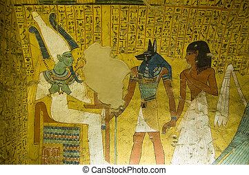 egypte, graf, oud, schilderij