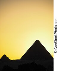 egypte, groot, giza, silhouette, piramides