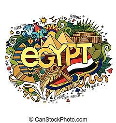 egypte, hand, lettering, en, doodles, communie, achtergrond.