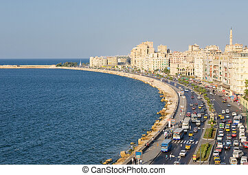egypte, haven, alexandria, aanzicht