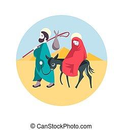 egypte, illustration, jésus, nativité, joseph, fuir, marie