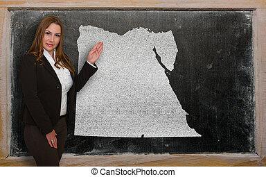 egypte, kaart, het tonen, leraar, bord