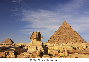 egypte, khafre, pyramide, sphinx, caire