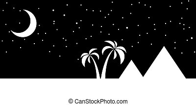 Nights sky over the pyramids in Egypt with a crescent moon. vector illustration