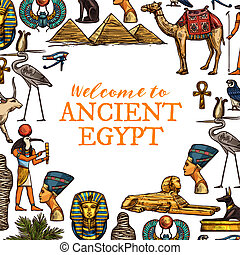 egypte, pays, voyage, ancien, symboles