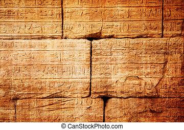 egypte, pierre, vieux, hiéroglyphes, découpé