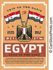 egypte, reizen, vlag, embleem, egyptisch