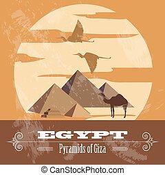 egypte, retro, landmarks., gestyleerd