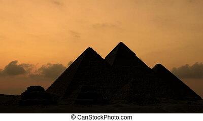 egypte, sur, giza, levers de soleil, pyramides