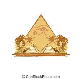 egypte, symbolen, en, piramides