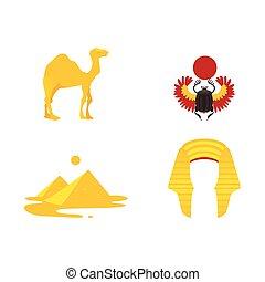 egypte, symbolen, -, kroon, kameel, piramides, scarab
