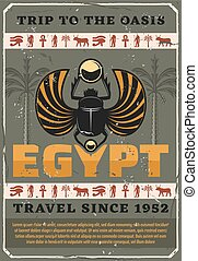 egypte, symbool, scarab, insect, vector, heilig