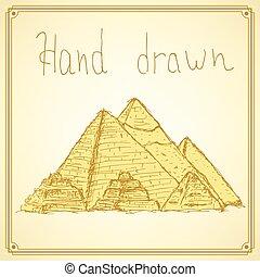 egypten, årgång, skiss, stil, pyramider