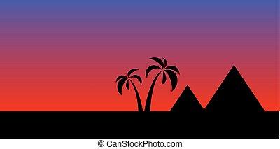 egypten, landskap, natt