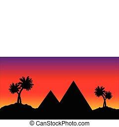 egypten, solnedgång