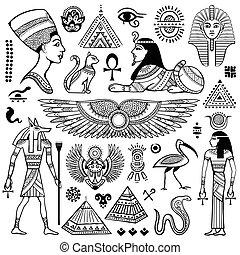 egypten, symboler, sätta, isolerat, vektor