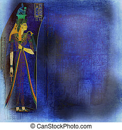 Blue wallpaper inspired by egyptian art and hieroglyphics